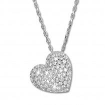SilberDream Halskette mit Anhänger Herz Zirkonia 44,5cm 925er Silber SDK4986W