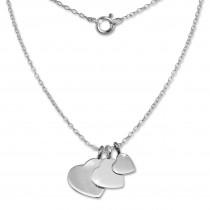 SilberDream Kette 3 Herzen 925er Sterling Silber 45cm Halskette SDK8001J