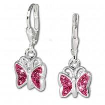 Teenie-Weenie Kinder Ohrhänger Schmetterling Zirkonia rosa 925er Silber SDO019A