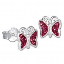 Teenie-Weenie Kinder Ohrringe Schmetterling Zirkonia pink 925er SDO094P