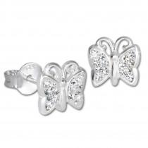 Teenie-Weenie Kinder Ohrringe Schmetterling Zirkonia weiß 925er SDO094W