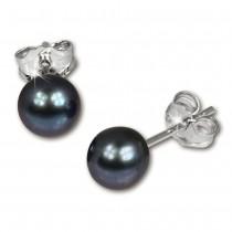 SilberDream Ohrstecker Süßwasser Perle 5mm schwarz 925 Silber SDO105S