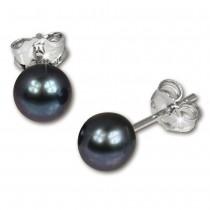 SilberDream Ohrstecker Süßwasser Perle schwarz 6mm 925 Silber SDO106S