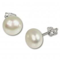 SilberDream Ohrstecker Süßwasser Perle weiß 9mm 925 Silber SDO109W