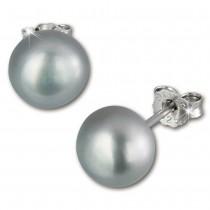 SilberDream Ohrstecker Süßwasser Perle grau 9mm 925 Silber SDO128K