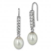 SilberDream Ohrhänger Süßwasser Perle weiß mit Zirkonias 925 Silber SDO1708W