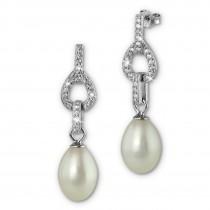 SilberDream Ohrstecker Süßwasser Perle weiß mit Zirkonias 925 Silber SDO1748W