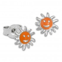 Kinder Ohrring Sonne orange Silber Ohrstecker Kinderschmuck TW SDO201O