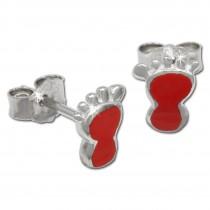 Kinder Ohrring Tapsen rot Silber Ohrstecker Kinderschmuck TW SDO202R