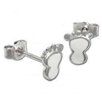 Kinder Ohrring Tapsen weiß Silber Ohrstecker Kinderschmuck TW SDO202W