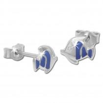 Kinder Ohrring Fisch blau Silber Ohrstecker Kinderschmuck TW SDO204B