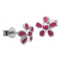 Kinder Ohrring Blume pink Silber Ohrstecker Kinderschmuck TW SDO209P