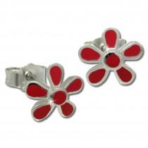 Kinder Ohrring Blume rot Silber Ohrstecker Kinderschmuck TW SDO209R
