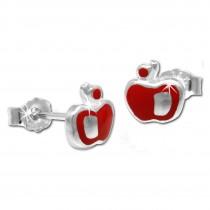 Kinder Ohrring Apfel rot Silber Ohrstecker Kinderschmuck SDO210R