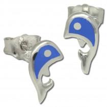 Kinder Ohrring Delfin blau Silber Ohrstecker Kinderschmuck TW SDO212B