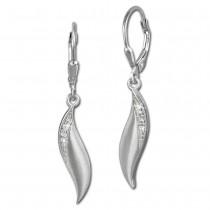 SilberDream Ohrhänger Welle Zirkonia weiß 925 Silber Ohrring SDO356M