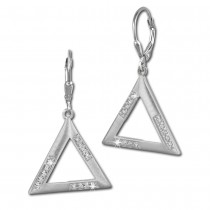 SilberDream Ohrhänger Dreieck Zirkonia weiß 925 Silber Ohrring SDO359M