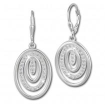 SilberDream Ohrhänger Oval Zirkonia weiß 925 Silber Ohrring SDO364S