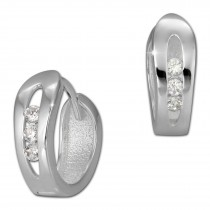 SilberDream Creole mit 3 weißen Zirkonia 925er Silber Damen SDO396W