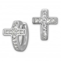 SilberDream Creole Kreuz Zirkonia weiß 925 Sterling Silber Damen SDO398W