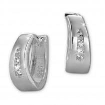 SilberDream Creole oval Zirkonia weiß 925er Silber Damen SDO399W