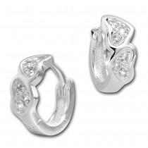 SilberDream Creole Herzen Zirkonia weiß 925 Sterling Silber Ohrring SDO4263W
