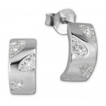 SilberDream Ohrstecker Blätter Zirkonia weiß 925 Silber Damen Ohrring SDO4274W