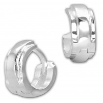 SilberDream Creole Double 12mm 925 Sterling Silber Ohrring SDO4281J