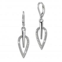 SilberDream Ohrhänger Blatt Zirkonia weiß 925 Silber Ohrring SDO4285W