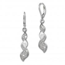 SilberDream Ohrhänger Zopf Zirkonia weiß 925 Silber Ohrring SDO4286W