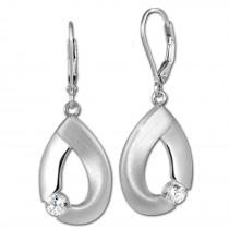 SilberDream Ohrhänger Big Zirkonia weiß 925 Silber Ohrring SDO4290W