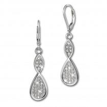 SilberDream Ohrhänger Unendlich Zirkonia weiß 925 Silber Ohrring SDO4291W
