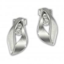 SilberDream Ohrstecker Blatt Zirkonia weiß 925 Silber Damen Ohrring SDO4302W