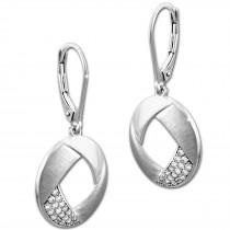 SilberDream Ohrhänger Rund Zirkonia weiß 925 Silber Damen Ohrring SDO4313W