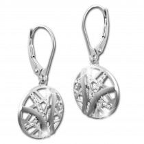 SilberDream Ohrhänger Scheibe Zirkonia weiß 925 Silber Damen Ohrring SDO4316W