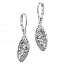 SilberDream Ohrhänger Oval Zirkonia weiß 925 Silber Damen Ohrring SDO4318W