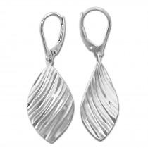 SilberDream Ohrhänger Blatt diamantiert 925er Silber Damen Ohrring SDO4320J