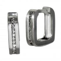 SilberDream Creole -eckig- Zirkonia weiß 925er Silber Damen SDO4363M