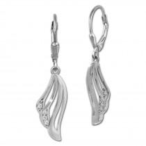 SilberDream Ohrhänger Fächer Zirkonia weiß 925 Sterling Silber Damen SDO4374W
