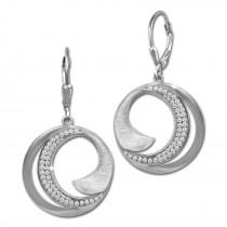 SilberDream Ohrhänger Circle Zirkonia weiß 925 Sterling Silber Damen SDO4376W