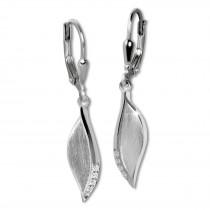 SilberDream Ohrhänger Blatt Zirkonia 925er Silber Damen SDO4399M