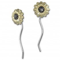 SilberDream Ohrhänger Sonnenblume 925 Silber Damen Ohrringe SDO463Y