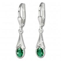 SilberDream Ohrhänger Zirkonia Stein grün Ohrring Silber SDO514G
