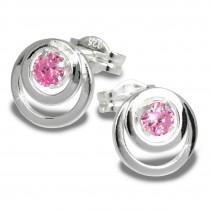 SilberDream Ohrring Kreise Zirkonia rosa 925 Silber Ohrstecker SDO542A