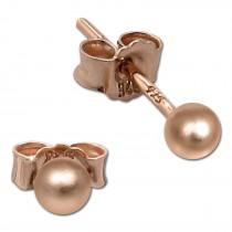 SilberDream Ohrringe Kugel matt 925 Silber rosevergoldet Ohrstecker SDO597E3M