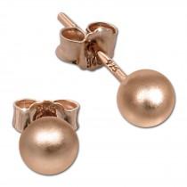 SilberDream Ohrringe Kugel matt 925 Silber rosevergoldet Ohrstecker SDO597E5M