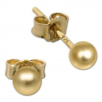 SilberDream Ohrringe Kugel matt 925 Silber vergoldet Ohrstecker SDO597Y4M