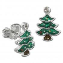 Kinder Ohrring Weihnachtsbaum Silber Ohrstecker Kinderschmuck TW SDO613G
