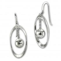 SilberDream Ohrhänger Oval mit Kugel 925 Sterling Silber Damen Ohrringe SDO6710J