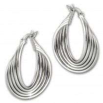 SilberDream 5er Creole glanz 2,5cm 925 Sterling Silber Damen Ohrring SDO67322